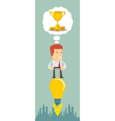 Business man flying on the light bulb vector image