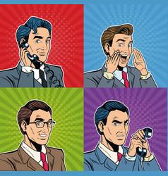 Businessmens pop art cartoon vector