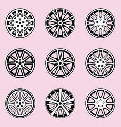Car rim car parts flat icons vector