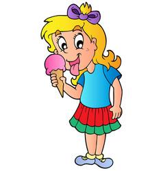 cartoon girl with icecream vector image