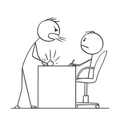 cartoon man or businessman yelling at boss or vector image