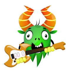 cartoon monster holding an electric guitar on vector image