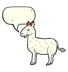 Cartoon mule with speech bubble vector