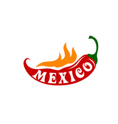 Chili peppper hot fire for mexico icon vector