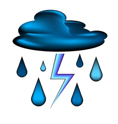 Cloud with lightning and rain drops icon vector image
