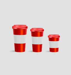 Coffee cups with holder mockup on red background vector