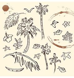 Collection beach doodles vector