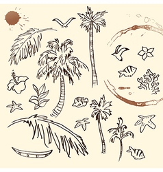 Collection of Beach Doodles vector