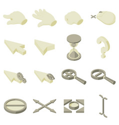 cursor arrow hand icons set isometric style vector image