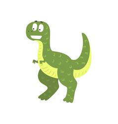 Cute cartoon green dinosaur prehistoric dino vector