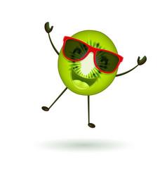 cute kiwi character jumping vector image