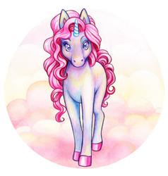 Cute watercolor violet iridescent unicorn vector