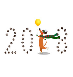 Dachshund skating on paws through number 2018 vector