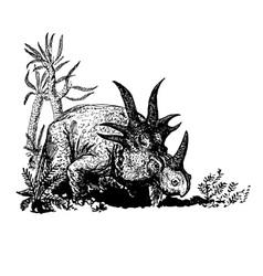 Dino styracosaurus vector