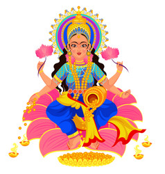 diwali indian holiday lakshmi goddess of wealth vector image