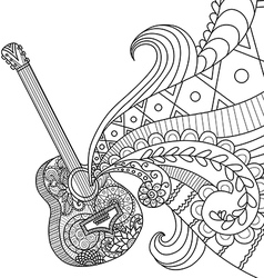 Doodles design of Guitar for coloring book for adu vector image