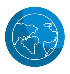 Emblem earth planet with global geographys vector