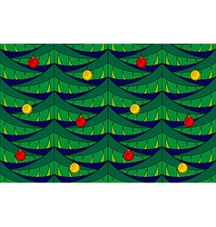 Fir seamless pattern with baubles vector image