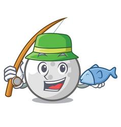 fishing golf ball mascot cartoon vector image