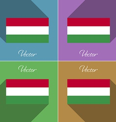 Flags Hugary Set of colors flat design and long vector image