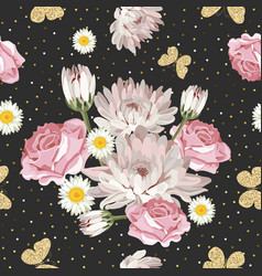floral seamless pattern with glittering vector image