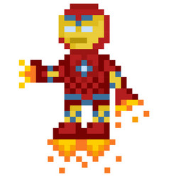 Flying iron man robot in red metal suit vector