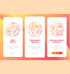 Genetic defects results red onboarding mobile app vector