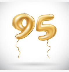 golden number 95 ninety five metallic balloon vector image