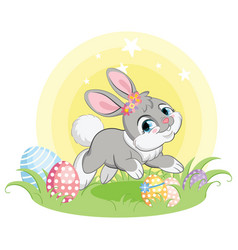 Gray easter bunny character with easter eggs vector