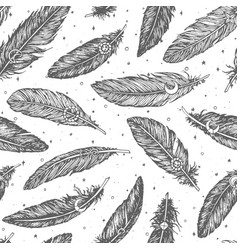 hand drawn pattern with detailed boho feathers vector image