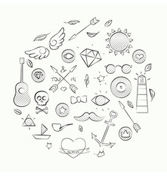 Hand drawn set of hipster elements over beige vector