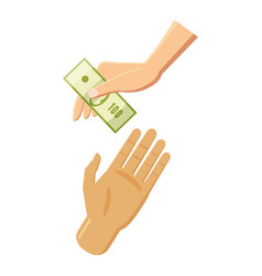 Hand giving money icon cartoon style vector