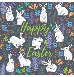 Happy Easter floral card with white rabbits vector
