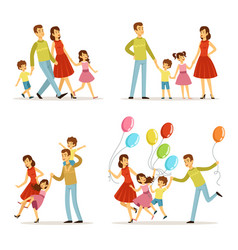 happy family portrait father mother and kids vector image