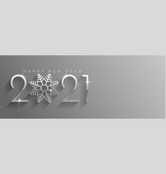 Happy new year silver shiny banner with snowflake vector