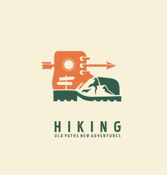 Hiking logo design template vector