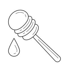 honey spoon line icon vector image