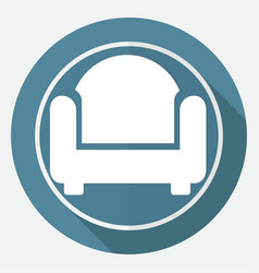 Icon chair on white circle with a long shadow vector