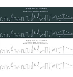 Istanbul single line skyline banner vector