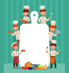 kids menu frame children chefs cook with cutting vector image