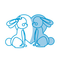 Lovely couple rabbit with heart decoration vector