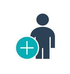 Man profile with plus colored icon add user vector