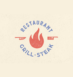 meat logo logo for grill house restaurant vector image