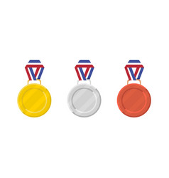 Medal set gold silver and bronze medal in flat vector