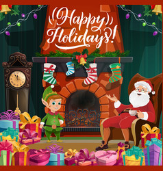 merry christmas and happy new year santa and elf vector image