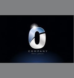 metal blue number 0 zero logo company icon design vector image