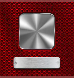 Metal steel plates on red perforated background vector