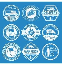 Milk Monochrome Emblems Set vector image