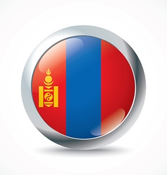 Mongolia flag button vector image