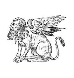 Mythological animals mythical sphinx ancient vector